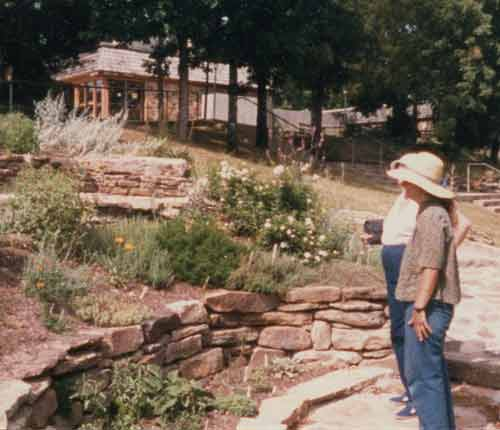 that's Sue in the hat at the Ozark Folk Center herb garden